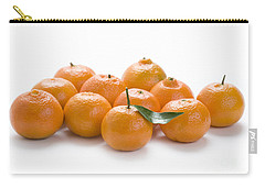 Carry-all Pouch featuring the photograph Clementine Oranges On White by Lee Avison