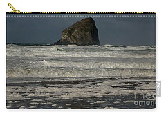 Carry-all Pouch featuring the photograph Close Haystack Rock by Susan Garren