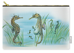Close-up Of A Male Sea Horse Expelling Young Sea Horses Carry-all Pouch by English School