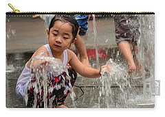 Clothed Children Play At Water Fountain Carry-all Pouch