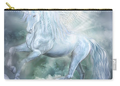 Carry-all Pouch featuring the mixed media Unicorn Cloud Dancer by Carol Cavalaris