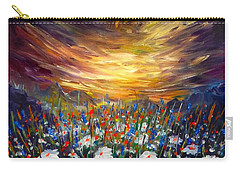 Carry-all Pouch featuring the painting Cloudy Sunset In Valley by Lilia D