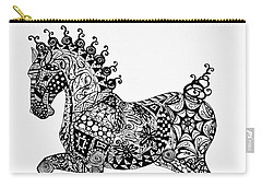 Carry-all Pouch featuring the drawing Clydesdale Foal - Zentangle by Jani Freimann