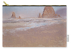 Coastal Escape  Cannon Beach Oregon And Haystack Rock  Carry-all Pouch by Karen Whitworth