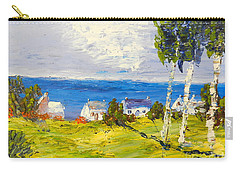 Carry-all Pouch featuring the painting Coastal Fishing Village by Pamela  Meredith
