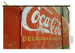 Carry-all Pouch featuring the photograph Coca-cola On The Army Store Wall by Kathy Barney
