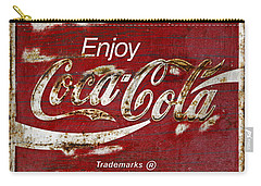 Coca Cola Red Grunge Sign Carry-all Pouch