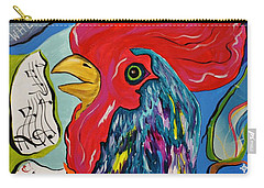 Carry-all Pouch featuring the mixed media Cock-a-doodle-do by Janice Rae Pariza