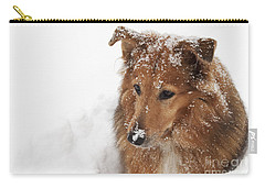 Collie In The Snow Carry-all Pouch by Jeannette Hunt