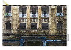 Carry-all Pouch featuring the photograph Colonial Facade Merchant Street 8th Ward Central Yangon Burma by Ralph A  Ledergerber-Photography