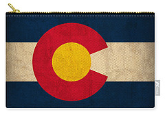 Colorado State Flag Art On Worn Canvas Carry-all Pouch