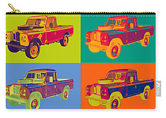 Colorful 1971 Land Rover Pick Up Truck Pop Art Carry-all Pouch by Keith Webber Jr