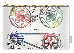 Colorful Bike Art - Vintage Patent - By Sharon Cummings Carry-all Pouch by Sharon Cummings