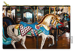Carry-all Pouch featuring the photograph Colorful Carousel Horse by Jerry Cowart