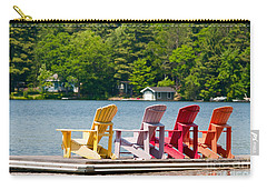 Carry-all Pouch featuring the photograph Colorful Chairs by Les Palenik