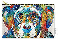 Colorful Chimp Art - Monkey Business - By Sharon Cummings Carry-all Pouch by Sharon Cummings