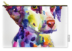 Colorful Dalmatian Puppy Dog Portrait Art Carry-all Pouch by Svetlana Novikova