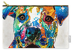 Colorful Dog Pit Bull Art - Happy - By Sharon Cummings Carry-all Pouch