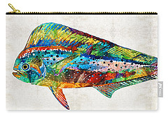 Colorful Dolphin Fish By Sharon Cummings Carry-all Pouch by Sharon Cummings