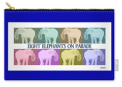 Colorful Elephants Carry-all Pouch by Marian Cates