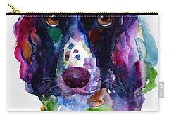Colorful English Springer Setter Spaniel Dog Portrait Art Carry-all Pouch by Svetlana Novikova