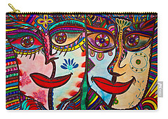 Colorful Faces Gazing - Ink Abstract Faces Carry-all Pouch
