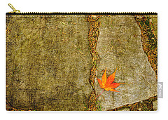 Carry-all Pouch featuring the photograph Colorful Fall Leaf On Stone by Marianne Campolongo