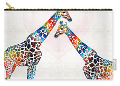 Colorful Giraffe Art - I've Got Your Back - By Sharon Cummings Carry-all Pouch by Sharon Cummings