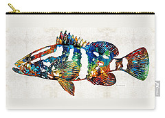 Colorful Grouper 2 Art Fish By Sharon Cummings Carry-all Pouch by Sharon Cummings