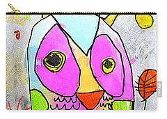 Carry-all Pouch featuring the painting colorful Owl by Greg Moores