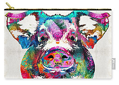 Colorful Pig Art - Squeal Appeal - By Sharon Cummings Carry-all Pouch by Sharon Cummings