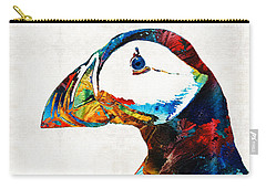 Colorful Puffin Art By Sharon Cummings Carry-all Pouch by Sharon Cummings