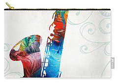 Colorful Saxophone 3 By Sharon Cummings Carry-all Pouch