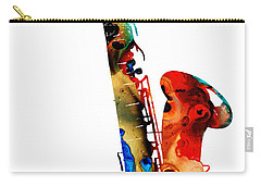 Colorful Saxophone By Sharon Cummings Carry-all Pouch by Sharon Cummings