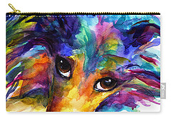 Colorful Sheltie Dog Portrait Carry-all Pouch