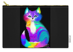 Colorful Striped Rainbow Cat Carry-all Pouch by Nick Gustafson