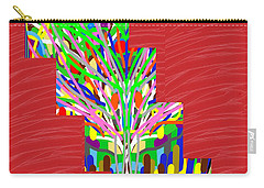Carry-all Pouch featuring the photograph Colorful Tree Of Life Abstract Red Sparkle Base by Navin Joshi