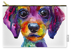 Colorful Whimsical Daschund Dog Puppy Art Carry-all Pouch