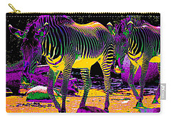 Colourful Zebras  Carry-all Pouch by Aidan Moran