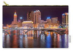 Columbus Skyline At Night Color Panorama Ohio Carry-all Pouch