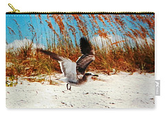 Windy Seagull Landing Carry-all Pouch by Belinda Lee