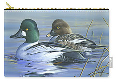 Carry-all Pouch featuring the painting Common Goldeneye by Mike Brown