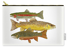 Carry-all Pouch featuring the painting Common Trout  Rainbow Brown And Brook by Thom Glace