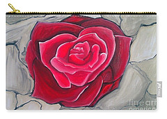 Concrete Rose Carry-all Pouch by Marisela Mungia