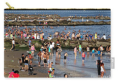 Carry-all Pouch featuring the photograph Coney Island Rocks by Ed Weidman