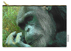 Carry-all Pouch featuring the photograph Contemplative Chimp by Rodney Lee Williams