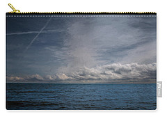 Carry-all Pouch featuring the photograph Contrails And Rainclouds Over Lake Michigan by John M Bailey