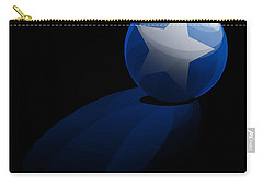 Carry-all Pouch featuring the digital art Blue Ball Decorated With Star Grass Black Background by R Muirhead Art