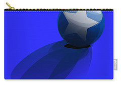 Carry-all Pouch featuring the digital art Blue Ball Decorated With Star Grass Blue Background by R Muirhead Art