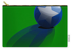 Carry-all Pouch featuring the digital art Blue Ball Decorated With Star Grass Green Background by R Muirhead Art